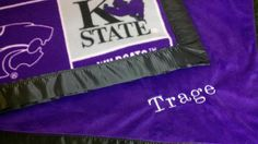 Personalized Kansas State University wildcats Fleece and Minky Baby Blanket with Flat Satin trim or ruffles via Etsy
