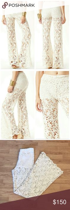 Nightcap Daisy Chain Lace Flares Delicious Daisy Chain Bells by Nightcap! Off white colored crochet lace with built in boy shorts. They feature a full bell. They are sold out and NWT, Nightcap Size 4. Which is an 8, please see Nightcap Size Chart. Nightcap Pants Boot Cut & Flare