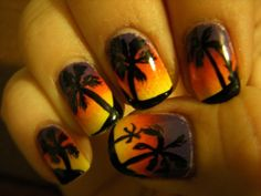 Summer Nail Design Ideas, sunset nails, vacations nails design