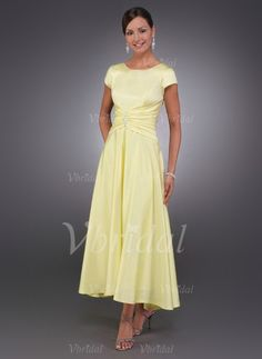 Mother of the Bride Dresses - $126.35 - A-Line/Princess Scoop Neck Asymmetrical Charmeuse Mother of the Bride Dress With Ruffle Beading (00805006640)