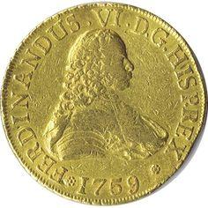 Moneda de oro 8 escudos Fernando VI 1759 Santiago J.