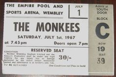 The Monkees July 1st 1967 WEMBLEY ARENA Concert Ticket - FAB England Collectible | Entertainment Memorabilia, Music Memorabilia, Rock & Pop | eBay!