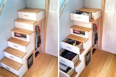 The following 10 ideas will show you how to put the unused space under your stairs to good use.: Staircase Storage: Tiny House Stairs Loaded With Storage