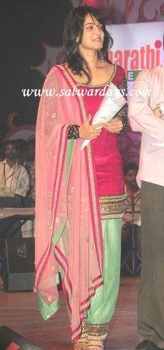 Indian Salwars and Indian Fashion: anushka in green and pink silk salwar kameez