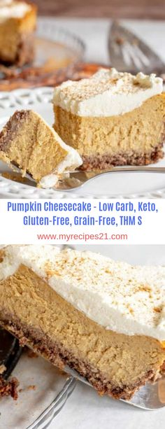 Pumpkin Cheesecake - Low Carb, Keto, Gluten-Free, Grain-Free, THM S - Recipeshooky Low Sugar Recipes, Snack Recipes, Dessert Recipes, Keto Desserts, Keto Recipes, Keto Cheesecake, Pumpkin Cheesecake, Gluten Free Grains, Salty Cake