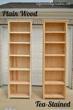 Before being tea stained, very tall  homemade, bookshelves -83 1/2