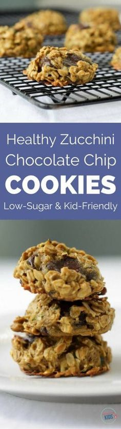 These zucchini chocolate chip cookies are the perfect way to use up your zucchini bounty. Plus, they're healthy, low in sugar, and kids love them!