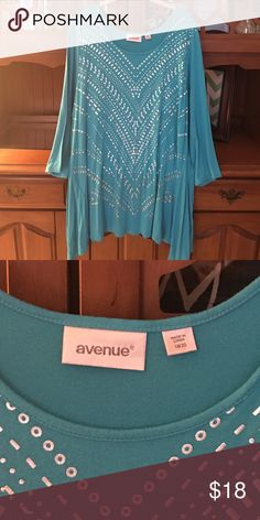 Blouse Turquoise blouse with silver studs and print. Worn twice. Perfect with leggings and boots! Avenue Tops Blouses