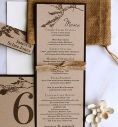 Ivory Romance - Rustic, Chic, & Elegant - Menu Cards With Burlap Ribbon, Place Cards, Table Numbers - WEDDING STATIONERY