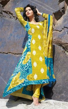 USD 46.42 Yellow Silk Printed Designer Salwar Suit 29821