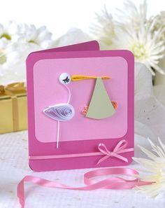 Quilled stork card by all things paper, via Flickr