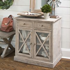 Looking for the perfect entryway piece for your farmhouse? This cabinet provides storage and style- pulling double duty for the most efficient use of a small space.