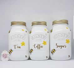 Bee-have Bumble Bee, Hand Painted,Glass, Medium 500ml Coffee Sugar & Tea Kilner Jars Set BEST SELLERS- To compliment our Best selling Bumble Bee Jar and Spoons Set. We are delighted to bring you the perfect addition to your Kitchen. Add a real cottage feel to your home this season