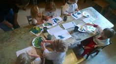 In preschool today we mixed the color green.