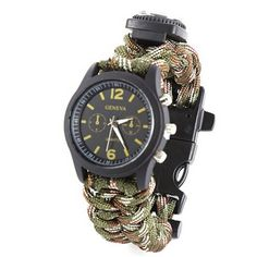 Model Number: Survival Bracelet 001 Name: Survival Bracelet,watch,compass,Whistle,buckle Function 1: navigation for Hiking Camping Hunting Boating Function 2: Flint fire starter,lighter Function 3: wa