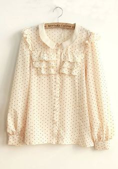 ++ Beige Heart Floral Buttons Long Sleeve Chiffon Blouse