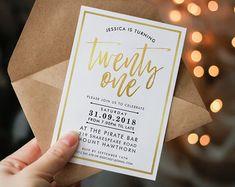 DIGITAL 18th Birthday Party Invitation modern by simplysweetART
