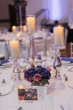 Plum and Pink Illinois Wedding at the Westin Chicago Captured by Britta Marie Photography - purple wedding centerpiece idea