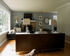 Dark Gray Paint Color Scheme With Cozy White Sofas  Living Spaces - Living room color schemes