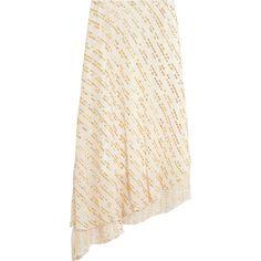 Tibi Asymmetric metallic fil coupé silk-blend midi skirt ($305) ❤ liked on Polyvore featuring skirts, white, calf length skirts, metallic skirts, tibi, white midi skirt and metallic midi skirt