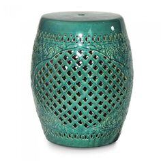 Banco de Cerâmica Xangai - Seat Garden Tamborete. Tamborete de Cerâmica azul turquesa. Os bancos de cerâmica são leve, versáteis e com um toque oriental, são ideais para todos os ambientes da casa, da varanda à sala.