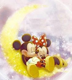 Mickey & Minnie Mouse On The Moon