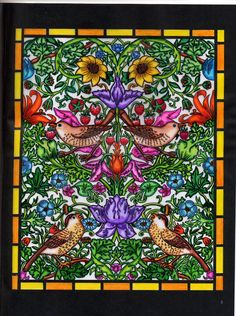 Bonnie Phares  (18+ division) from William Morris Stained Glass Coloring Book: http://store.doverpublications.com/0486410420.html