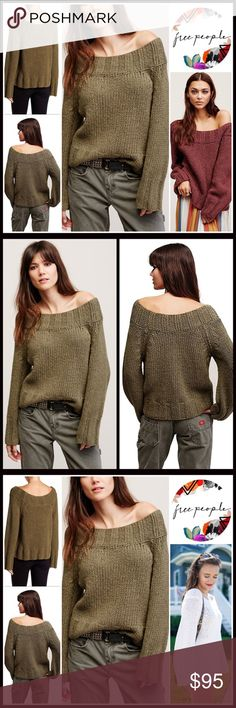 """FREE PEOPLE Sweater Pullover FREE PEOPLE Sweater Pullover  💟NEW WITH TAGS💟  * A relaxed, slouchy fit * Incredibly soft & cozy  * Allover knit fabric w/ chunky ribbed trim * Approx 24"""" long * Subtly off the shoulder neck & long sleeves w/ribbed cuffs   Fabric: 98% COTTON, 1% Spandex, 1% nylon Color: Green Item#FP SEARCH # Boyfriend Boxy Oversized loose Knit 🚫No Trades🚫 ✅ Offers Considered*/Bundle Discounts ✅  *Please use the blue 'offer' button to submit an offer Free People Sweaters Crew…"""