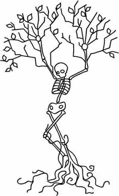 Embroidery Designs at Urban Threads - Skeleton Tree Cross Stitching, Cross Stitch Embroidery, Hand Embroidery, Cross Stitch Patterns, Machine Embroidery, Coloring Books, Coloring Pages, Embroidery Designs, Halloween Embroidery