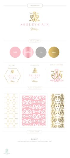 Branding Design for Ashley Gain Weddings  |  www.EmilyMcCarthy.com | Luxury Branding, Logo, Monogram