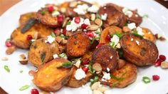 Roast Sweet Potatoes with Feta, Almonds is a gorgeous party dish that's a guaranteed hit!