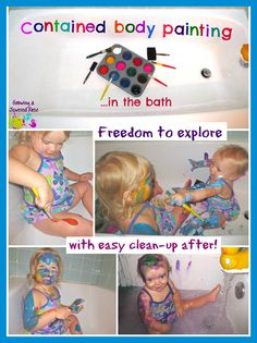 Contained Body Painting in the Bath.  Super fun sensory experience and easy to clean up! Lets little ones explore freely!