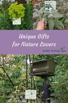 Garden Activity Signs make a unique gift for sharing the joys of nature with your friends, colleagues and clients. Available to purchase online in 3 types of signs to fit any garden location. #gardengift #gardeninggifts #gardengiftideas #bestgiftsforgardeners #giftsforgardeners #gardenart #gardendecor #gardendecoration #gardenideas #gardenlovers #plantlover #giftsfornaturelovers #giftguide  #naturegifts  #gardensigns #naturelover #gardenmarkers #gardenlabels #plantmarkers Plant Markers, Garden Markers, Nature Activities, Hands On Activities, Best Gifts For Gardeners, Garden Labels, Forest Bathing, Sensory Garden, Gifts For Nature Lovers