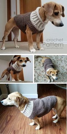 Crochet Dog Sweater Pattern Ideas   The WHOot The WHOot Crochet Dog Sweater Free Pattern, Crochet Giraffe Pattern, Crochet Dog Patterns, Sweater Patterns, Large Dog Sweaters, Pet Sweaters, Teepee Pattern, Crochet Panda, Crochet Baby