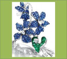 Broche com safiras, esmeraldas e diamantes em platina (deve ser da Van Cleef & Arpels, mas não achei a referência)