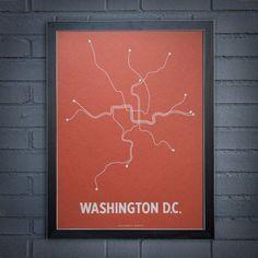 Line Posters Washington DC Screen Print Wall Art - 0503-COWH-A