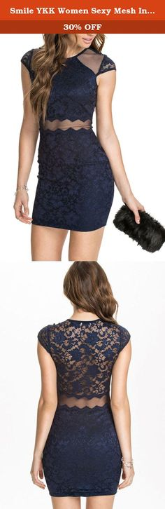 Smile YKK Women Sexy Mesh Insert Navy Lace Bodycon Dress Skirt Dark Blue. Dear-Lover Sexy Mesh Insert Navy Lace Bodycon Dress has a flattering silhouette, formfitting shape aims to completely show off the hidden curves of the body. Round neck, partial lined, sexy sheer mesh insert on shoulder and waist around. If pair with fashion jewelry, it will makes you look much more gorgeous. Free size,bust 84-116cm,waist 66-92cm,hip 86-120cm,length 85cm. The size information is just for reference...
