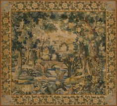 The walls were covered with tapestry with a forest scene embroidered on it