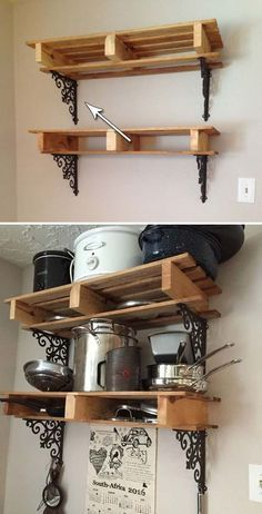 Brackets – they are not just for propping up and securing wooden boards to build wall shelves, but can be elegant used in a number of home decorating projects. So, have a look at these 10 awesome ideas to decorate your home with brackets: Mounting a b Pallet Home Decor, Pallet Crafts, Diy Pallet Projects, Pallet Furniture, Home Projects, Diy Home Decor, Pallet Patio, Diy Crafts, Decoration Palette