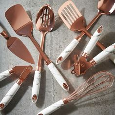 Our favorite pairing - marble and rose gold . Tap the link in bio to find out more . gold kitchen decor Rose Gold Finish and Soft-Touch Marble Utensil Set Rose Gold Kitchen Accessories, Marble House, Rose Gold Decor, Rose Gold Marble, Copper And Marble, Utensil Set, Cuisines Design, Kitchen Items, Can Opener