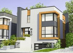 Narrow House Plans, Modern House Floor Plans, House Plans And More, Contemporary House Plans, Modern Contemporary, Modern Design, Modern Townhouse, Townhouse Designs, Architectural Design House Plans