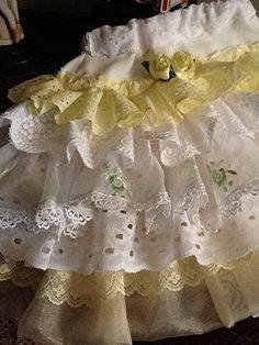 Back to School vintage lace skirtYellow/white/lime by Babybonbons