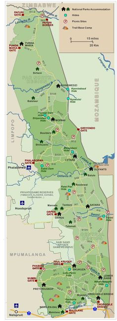 Kruger National Park detailed map showing roads, entrances, rest camps and more.