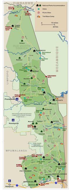 Kruger National Park detailed map showing roads, entrances, rest camps and more.