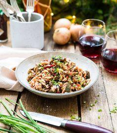 Grönsaksgryta med aubergine och zucchini - Landleys Kök Zucchini, Lettuce, Pasta Salad, Love Food, Risotto, Nom Nom, Vegetarian Recipes, Veggies, Food And Drink