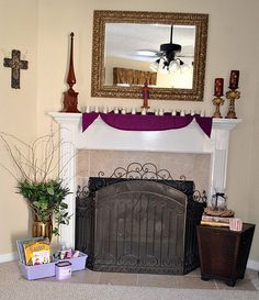 decorating for Lent mantel--- decor and ideas along with ideas for Lent with kids