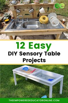 A sensory table is a very useful piece of play equipment for early learning through play. They provide so many opportunities for children to explore and engage with their senses and although they are traditionally filled with either water or sand they can also be used with many other materials that encourage sensory exploration and processing. Check out these 12 easy DIY sensory table ideas. | The Empowered Educator Toddler Sensory Bins, Baby Sensory, Sensory Activities, Sensory Play, Toddler Preschool, Activities For Kids, Outdoor Play, Outdoor Decor, Family Day Care