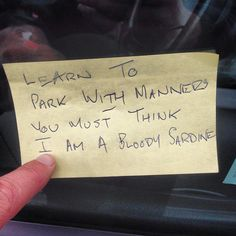 This Was On My Car When I Came Out The Shop, Very British Car Parking Note