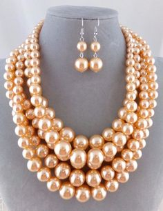 Chunky Layered Orange Peach Pearl Necklace Set Silver Fashion Jewelry NEW #Passion