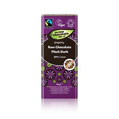 The Raw Chocolate Company  Organic  Fairtrade Raw Dark Chocolate Pitch 72 Cacao  44g * Click image for more details.